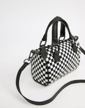ASOS DESIGN - Borsa bowling piccola bianca e nera a scacchi - Bianco