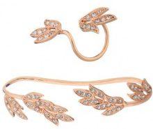 Set di palm cuff & anello con motivo a foglia