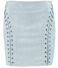 Rozie minigonna in camoscio sintetico con occhielli