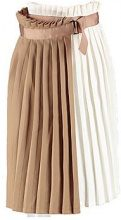 Lucia Contrast Woven Pleated Wrap Midi Skirt