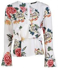 Mollie Floral Flare Sleeve Cut Out Blouse