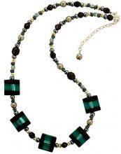 Amanti Venezia, collana con perle quadrate in vetro di Murano, colore azzurro e nero, lunghezza 46 -52cm