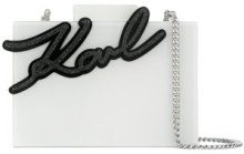 Karl Lagerfeld - Signature Shine Minaudiere clutch - women - Acrylic - One Size - WHITE