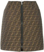 Fendi Vintage - zucca pattern reversible skirt - women - Cotton/Polyester - 42 - BROWN