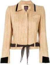 John Galliano Vintage - Giacca con cintura - women - Silk - 38 - NUDE & NEUTRALS