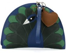 Sarah Chofakian - Pavão embroidered clutch - women - Goat Skin - OS - BLUE