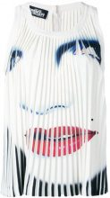Jeremy Scott - face print pleated tank - women - Polyester/other fibers - 42 - WHITE