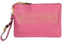 Moschino - stud embellished logo clutch - women - Kid Leather - OS - PINK & PURPLE