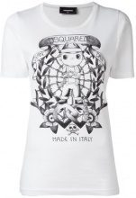 Dsquared2 - long tattoo graphic T-shirt - women - Cotton - S - WHITE