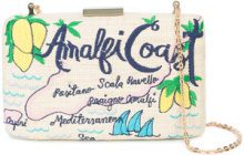 Kayu - map embroidered clutch bag - women - Straw - OS - NUDE & NEUTRALS