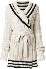 Maison Margiela - cable knit cardigan - women - Cotton/Linen/Flax - S - NUDE & NEUTRALS