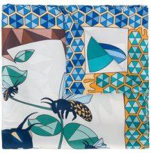 Cha•Val Milano - Sciarpa con stampa con ape geometrica - women - Silk - OS - BLUE