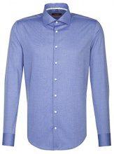 Seidensticker Slim Extra Langer Arm MIT Kent Kragen Bügelfrei, Camicia Business Uomo, Blu (Mittelblau 15), 49