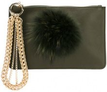 Mr & Mrs Italy - embellished clutch - women - Cotton/Calf Leather/Racoon Fur - OS - GREEN