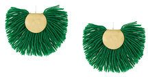 Katerina Makriyianni - Orecchini a ventaglio - women - Silver/Wool/Bronze - OS - GREEN