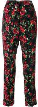Dolce & Gabbana - Pantaloni crop con rose stampate - women - Spandex/Elastane/Viscose - 42 - BLACK