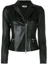 Desa Collection - Giacca aderente - women - Leather/Polyester/Spandex/Elastane - 40 - BLACK