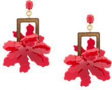Oscar de la Renta - lily flower earrings - women - Plastic/Brass/glass - OS - RED