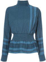 Cecilie Copenhagen - patterned high neck top - women - Cotton - S - BLUE