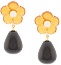 Lizzie Fortunato Jewels - Daisy Flower Drop earrings - women - Gold Plated Brass/Pietra - OS - Nero