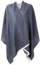 Ermanno Gallamini - geometric print poncho - women - Linen/Flax/Polyamide/Viscose - OS - BLUE