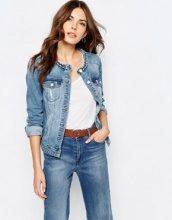 Vila - Giacca di jeans senza colletto con scollo intrecciato