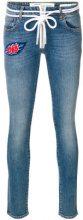Off-White - Jeans con toppa ricamata - women - Cotton/Polyester/Spandex/Elastane/glass - 26 - BLUE