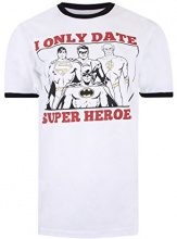 DC Comics Only Date Superheroes, T-Shirt Donna, White (White/Black), 44