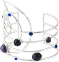 Eshvi - 'Asto' cuff - women - Rhodium/Vetro Zaffiro - OS - BLUE