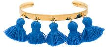 Marte Frisnes - Bracciale rigido 'Raquel' con nappine - women - Cotton/Gold Plated Silver - S, M, L - BLUE