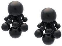 Monies - orecchini con clip 'Tassel Bead' - women - Wood/Leather - OS - BLACK