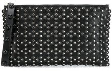 Red Valentino - studded zipped clutch - women - Leather - One Size - Nero