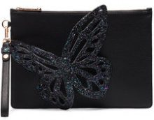 Sophia Webster - Black Flossy glitter butterfly leather pouch - women - Leather/Sequin - One Size - BLACK