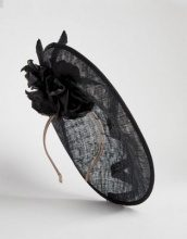 Vixen - Cappello rotondo nero con ghirigori in sinamay - Nero