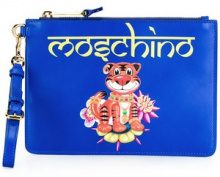 Moschino - jewelled tiger clutch bag - women - Leather - OS - BLUE
