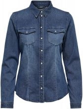 ONLY Solid Denim Shirt Women Blue