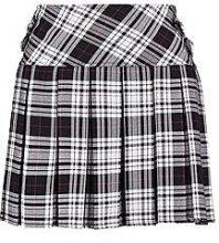 Eva Monochrome Tartan Pleated Woven Skirt