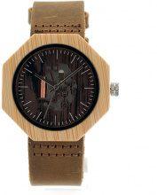 Orologio da polso con ingranaggio in legno & pelle