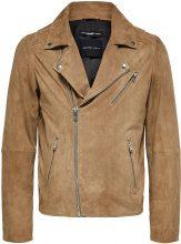 SELECTED Biker - Leather Jacket Men Grey