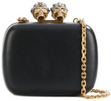 Alexander McQueen - Clutch 'Queen and King' - women - Leather/metal/glass - One Size - BLACK