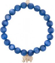 Sydney Evan - Braccialetto 'Blue cat's eye' con perline e ciondolo a forma di elefante - women - Diamond/14kt Gold/Pietra - OS - BLUE