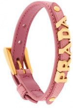 Prada - Bracciale con logo - women - Leather - S, M, L - PINK & PURPLE