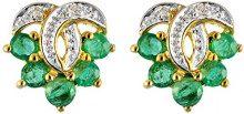Ivy Gems, orecchini a perno, in oro giallo 9 ct, con smeraldo sintetico