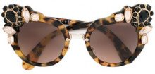 Miu Miu Eyewear - Occhiali da sole 'Runway' decorati con pietre - women - Acetate/metal/Crystal - OS - BROWN