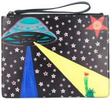 Christopher Kane - printed clutch - women - Cotone/Leather - OS - Nero