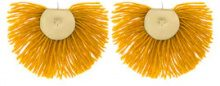 Katerina Makriyianni - Orecchini con frange - women - Silver/Bronze/Wool - OS - YELLOW & ORANGE