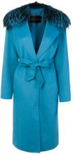 Versace - Cappotto con cintura - women - Silk/Fox Fur/Acetate/Wool - 40 - BLUE