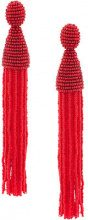 Oscar de la Renta - long beaded tassel earring - women - Nylon/Brass/glass - OS - RED