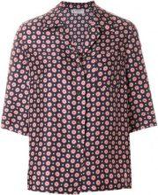 Alberto Biani - floral shortsleeved shirt - women - Silk - 42 - BLUE