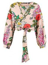 Maddison Large Floral Wrap Front Top
